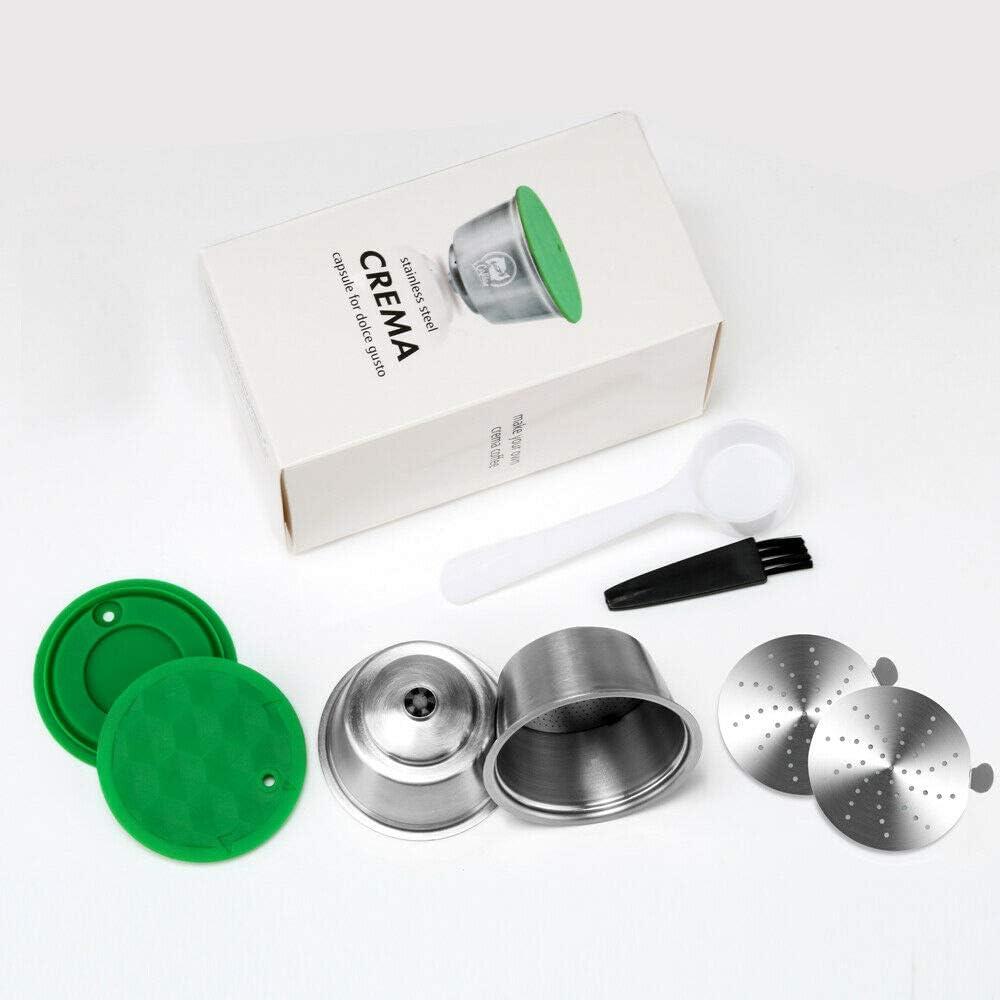 i Cafilas 2 Filtros Cápsulas Rellenar reutilizar para Dolce Gusto,capsulas Reutilizables Dolce Gusto Acero Inoxidable,2 pcs Capsule con 1 cucharón de plástico y 1 Cepillo