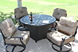 Heritage Outdoor Living Cast Aluminum Elisabeth 5pc deep seating set with 52in firepit with enclosure- Antique Bronze For Sale