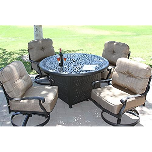 Heritage Outdoor Living Cast Aluminum Elisabeth 5pc Deep Seating Set With  52in Firepit With Enclosure  Antique Bronze