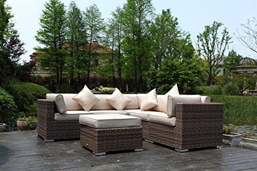Radeway 6pc Outdoor Patio Furniture Sets Modern Sectional Backyard Garden Pool Wicker Rattan Sofa Couch Set W/ Covers (Costco Outdoor Furniture Covers)