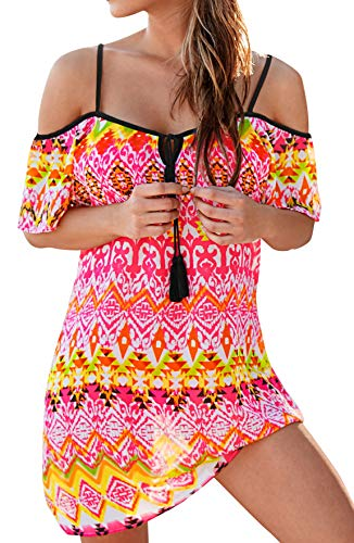 (Upopby Women's Chiffon Floral Bohemian Summer Bikini Cover Up Dress Beachwear Sundress Cold Shoulder Tunic Mini Dresses Plus Size Ethnic)