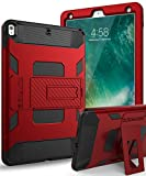 SKYLMW Case for iPad Air 3rd Generation 2019/iPad Pro 10.5' 2017,Heavy Duty Three Layer Hybrid Shockproof Protective Cover with Kickstand for iPad Pro 10.5' 2017 /iPad Air 3 2020 10.5 inch,Red/Black