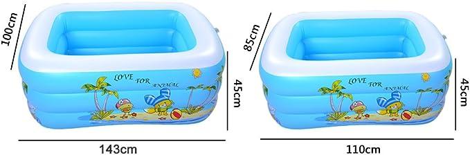 Pueri Piscina hinchable rectangular 3 anillos 45*85*110cm Piscina para bebé color al azar
