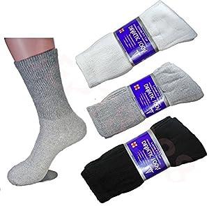 LM® 12 Pairs Diabetic Crew Socks Unisex 9-11, 10-13, 13-15 Black Grey White 1 Dozen Pairs