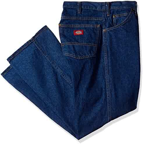 fbc3a0a738 Dickies Occupational Workwear C993RNB Denim Cotton Regular Fit Men's  Industrial Jean with Straight Leg, Indigo