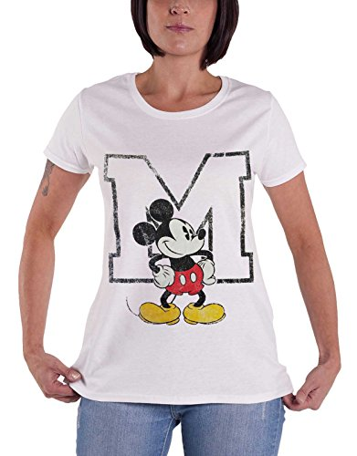 Official Mickey Mouse T Shirt Disney Distressed M Logo Womens White Junior Fit Size 12