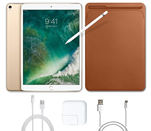 2017 New IPad Pro Bundle (4 Items): Apple 10.5 inch iPad Pro with Wi-Fi 512 GB Gold, Leather Sleeve Saddle Brown, Apple Pencil and Mytrix USB Apple Lightning Cable by uShopMall
