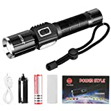Zglon Ultra Bright Rechargeable LED Tactical Flashlights 1000 Lumens Zoomable with 7 Modes,USB Charging Cable, Waterproof Torch with 18650 Battery and Lanyard - Best Tools for Hiking, Fishing and Cam