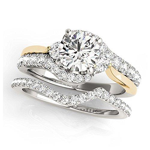 14K White Gold Unique Wedding Diamond Bridal Set Style MT50914