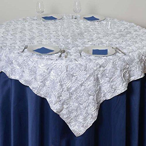 LinenTablecloth Rosette Satin Square Overlay Tablecloth, 85-Inch, White ()