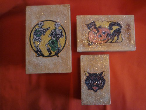 Vintage Hallowen Treat Boxes Gift Set w/ Sugar Lids]()