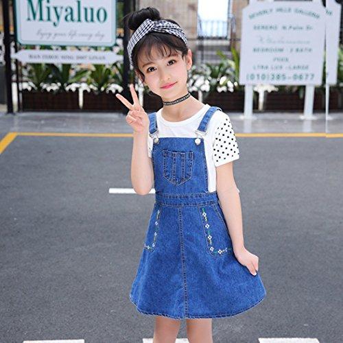 b5d1b4310 Kidscool Girls Big Bibs Small Flowers Decor Summer Jeans Overalls Dress ,Blue,5-
