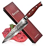 Sedge Chef Knife - Japanese AUS-10 Damascus High Carbon Stainless Steel - Pro Chefs knife 8 Inch - Hammered Finish - With Non-Slip Full-tang Ergonomic G10 Handle - SD-H Series