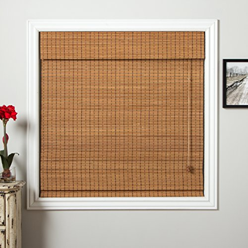 1 Piece 72''Wx74''L Brown Grain Ochre Tan Natural Wood Pull Up Bamboo Blind Home Decor Rustic Roman Shade Horizontal Slat Elegant Beautiful Perfect Fit Nature Window Treatment Allows Gentle Sunlight by PH