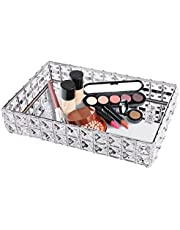 Shellkingdom Makeup Jewelry Tray,Crystal Perfume Cosmetic Organizer Tray for Wedding Home Vanity Decorating, - Fruit Cake Candle Candy Tray(Sliver)