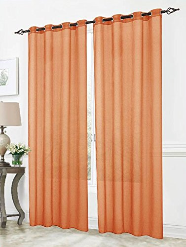 RT Designers Collection Cara Sheer Voile 54 x 84 in. Grommet Curtain Panel, Terracotta