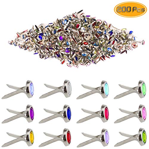 Yexpress 200 Pieces 8 x 15mm Mixed Colors Rhinestone Mini Brads Round Paper Fasteners Brass Pastel Metal Brads for Scrapbooking Crafts DIY Paper