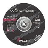 Weiler 56423 9'' x 1/8'' Wolverine Type 27 Cutting Wheel, A24R, 5/8''-11 UNC Nut (Pack of 10)