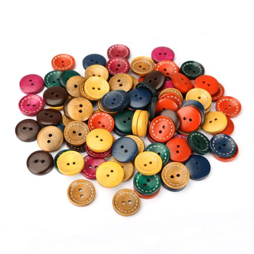 Chinatera 100PCS 20mm 2 Holes/27mm 4 Holes Wooden Button Vintage Retro Round Wood Buttons for Craft/Sewing DIY Home Textile (2 Holes Muliti-Color)