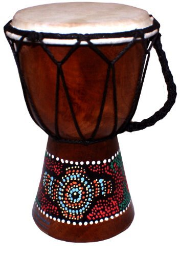 - World Playground Hand Painted Djembe Drum Fair Trade West African Drum (Height: 20cm)