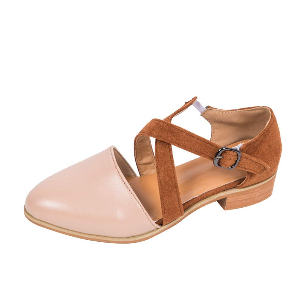 SSYongxia❤ Girls Women's Casual Elegant Ankle Strap Closed Toe Chunky Heeled Sandals for Dress Brown