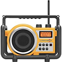 Sangean LB-100 LUNCHBOX Compact FM/AM Ultra Rugged Worksite Radio Receiver, Rain Resistant to JIS4 Standard, Dust Resistant, Shock Resistant, Digital PLL Tuner FM & AM