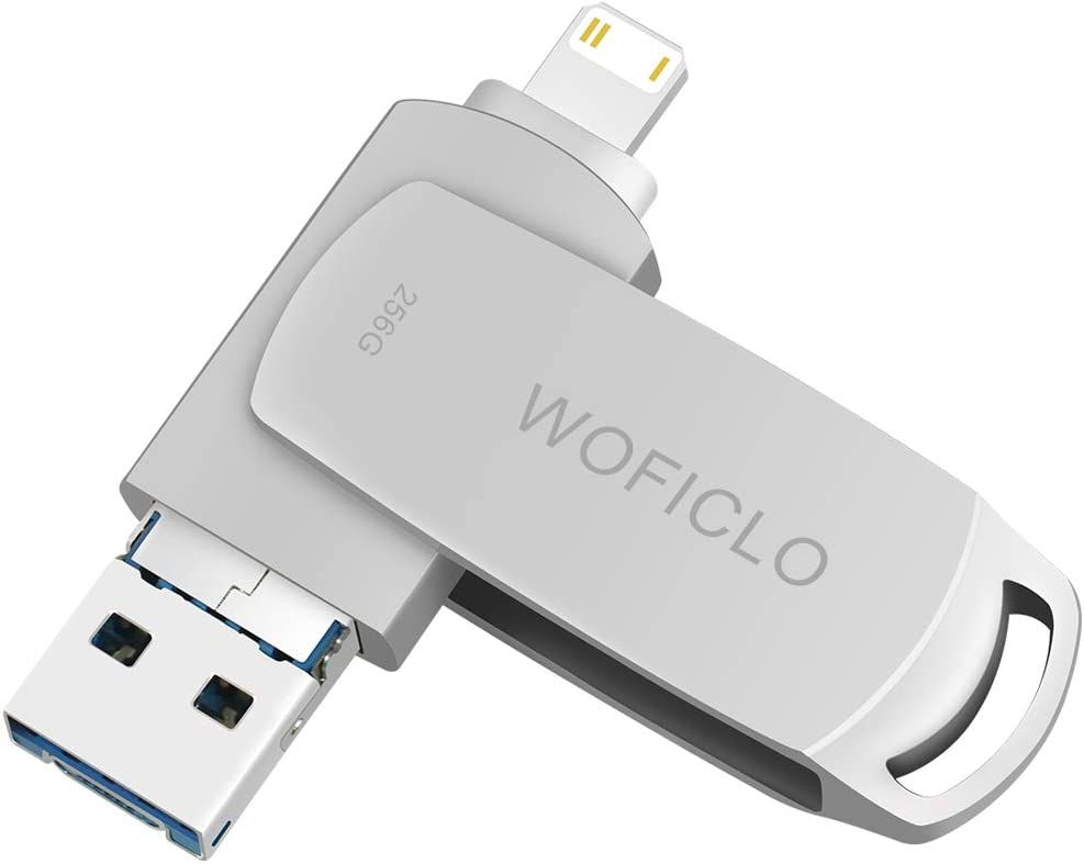 USB Flash Drive for iPhone, 256GB Photo Storage , WOFICLO External Memory Stick for iPad Compatible iOS/Mac Type-c/PC USB3.0/Android Micro and USB-c (256GB,Sliver)