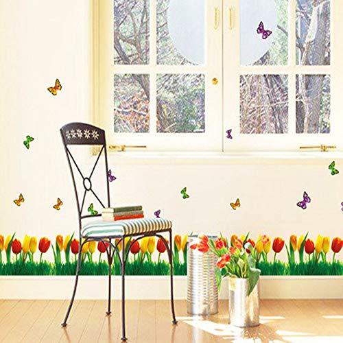 SHAN'S Etiqueta de la Pared Flor de tulipán Etiqueta de la Mariposa Tienda Etiqueta de la Ventana Lucky Grass Xiaoye...
