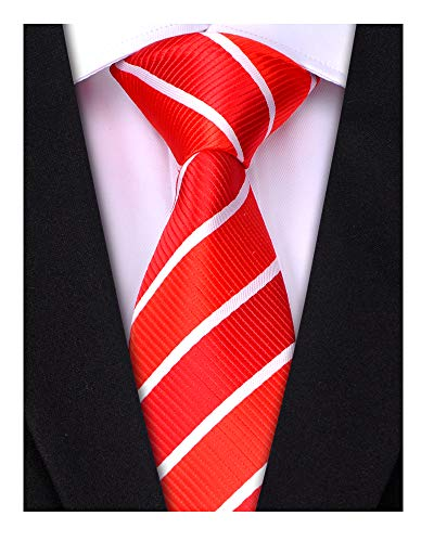 LUISDAN Stripe Tie Jacquard Woven Microfiber Formal Men's Neckties - Various Styles (Red&White)
