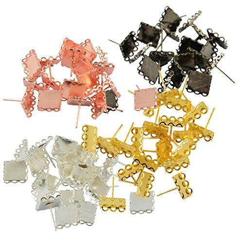 Bezel Square Earrings - 4