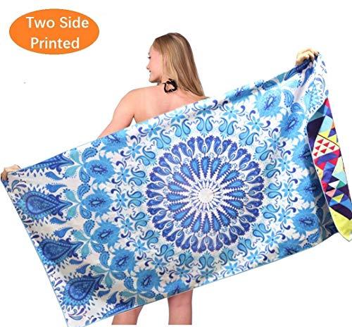 Oversized Microfiber Travel Beach Towel - Fast Dry Absorbent Lightweight Towels Blanket Thin for Swim Bath Yoga Girls Women Men Adults Blue Mandala Geometric Bohemian