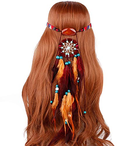Fodattm Hippie Dreamcatcher Feather Headband Headdress with Man-made Gem Bohemian Indain Style Handmade Feather Hairband Headwear Fascinator (B#) ()