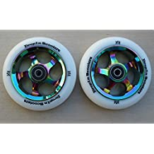 DIS 110mm Slicks Metal Core Scooter Wheels - 2 Wheels with ABEC-11 Bearings and spacers installed