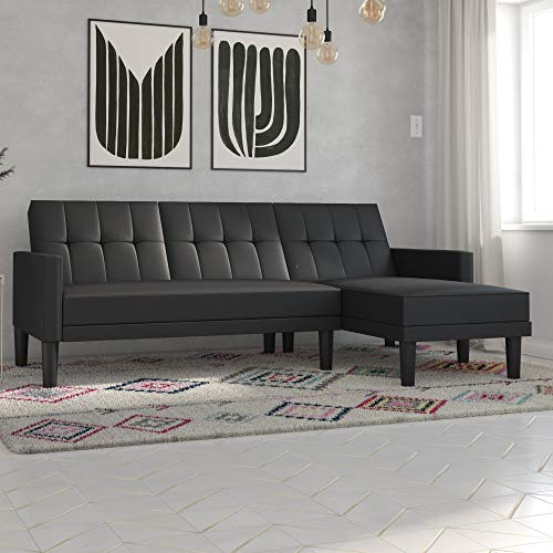 Faux Leather Sofa Set - DHP Haven Small Space Sectional Futon Sofa, Black Faux Leather