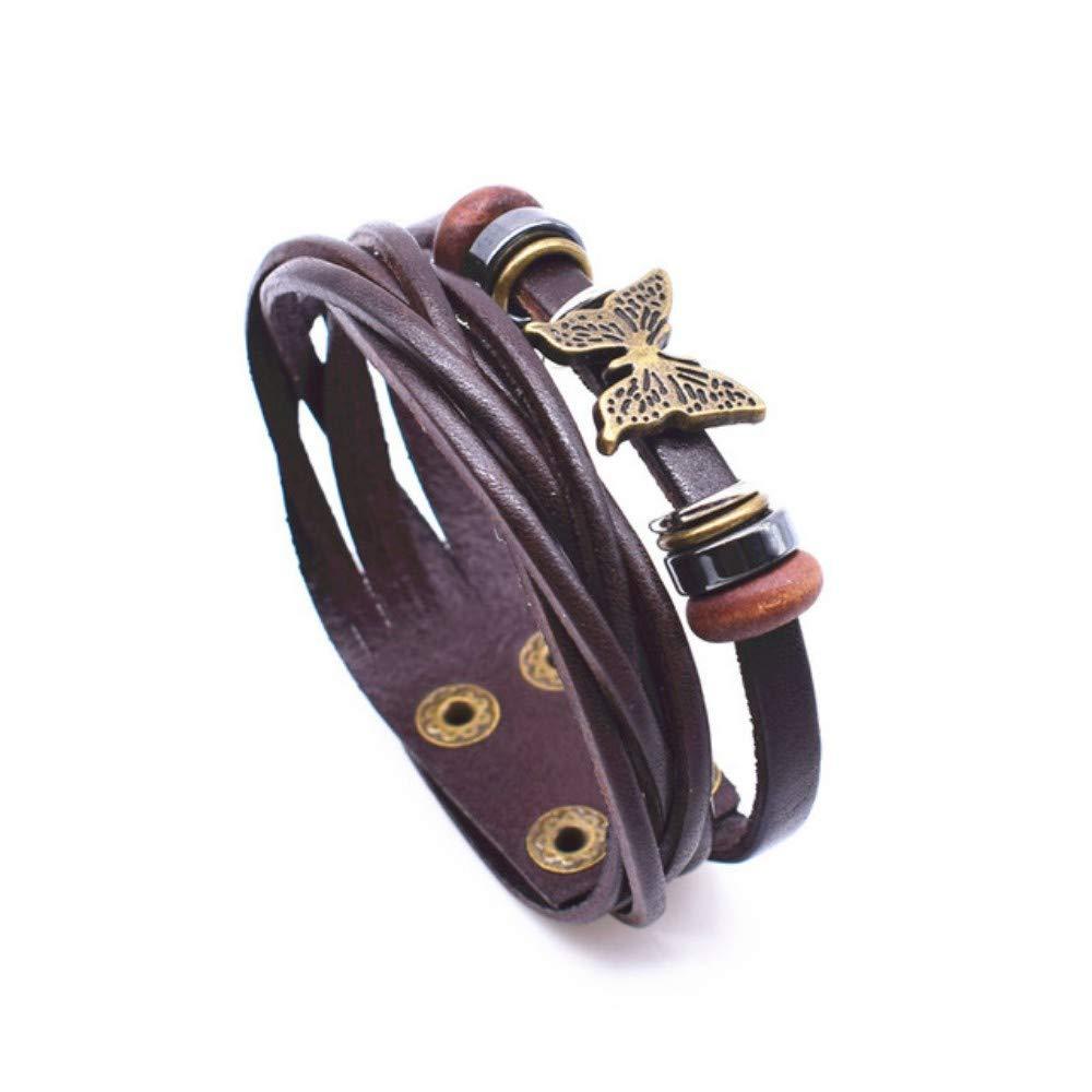 DLIAAN Armbänder Holzperlen Mit Schmetterlingsarmband Dunkelbraunem Leder Armbänder Für Frauen Doppelschicht Verstellbare Schaltfläche Armband Schmuck