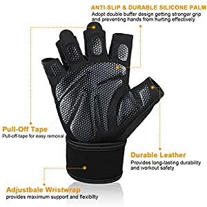 Workout Gloves with Anti-Slip Silica Gel Palm/Wrist strap for Weightlifting Cross Training Cycling Fitness,Perfect Durable Workout Gloves for Men & Women