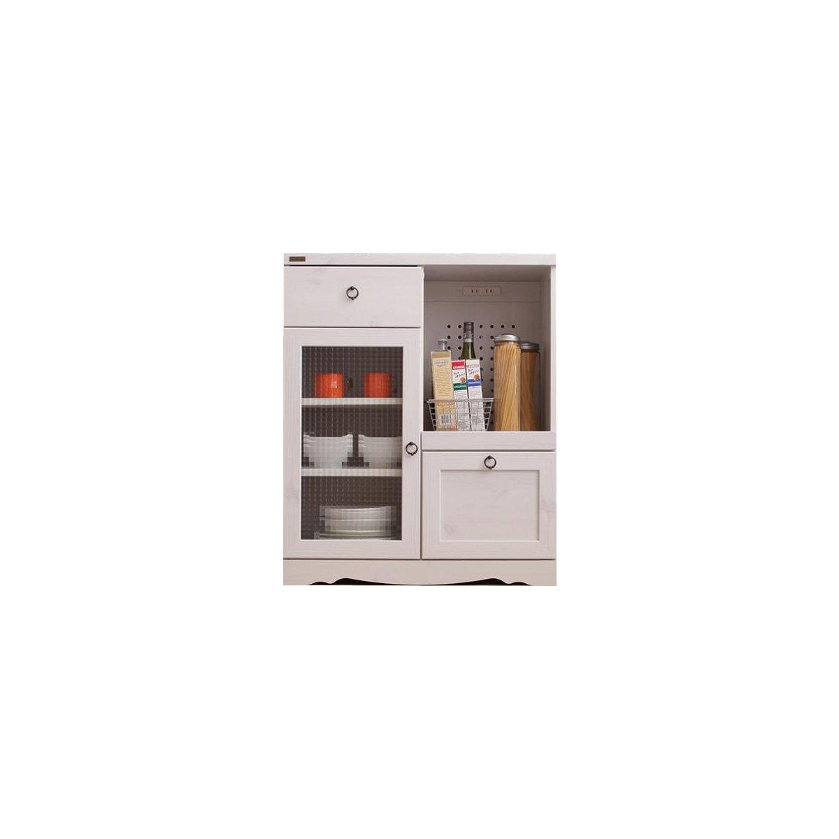 ホワイト/レンジ台 ロータイプ キッチン収納 ウォルナット ブラウン ホワイト 木目 北欧 食器棚 ボタニカル ナチュラル キッチン B07B68777Mホワイト