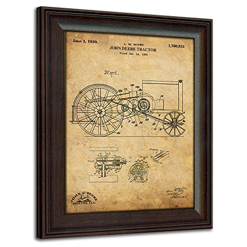 Farm and Tractor Patent Prints – Framed Behind Glass 14×17 John Deere Tractor