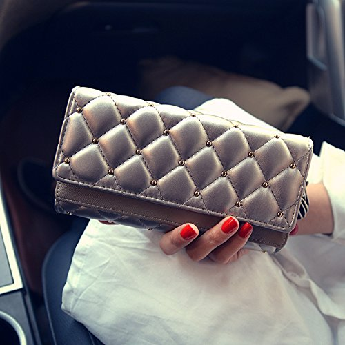 VRLEGEND New Arrival Elegant Lady Women Clutch Trifold Leather Long Wallet Travel Long Purse Card Holder Purse Large Capaicty (VR001, Silver)