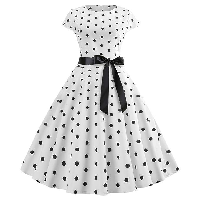 Tebaise Damen Vintage 1950er Cap Sleeves Retro Dot Einfarbig