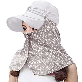 SIGGI Summer Visor Cap Foldable Sun Hat with Detachable Neck Flap Face Mask SPF50 for Women Gray
