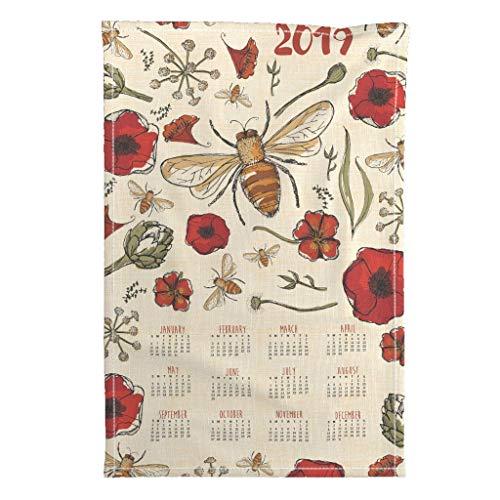 Roostery 2019 Tea Towel Calendar Kitchen Dates Bee by Laurawrightstudio Special Edition Linen Cotton Tea Towel