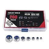 Lock Nuts Self-Locking Anti Slip Locknut 304 Stainless Steel M3 M4 M5 M6 M8 M10 M12 Nylon Insert Hex Locknut Assortment Kit 200 Pcs