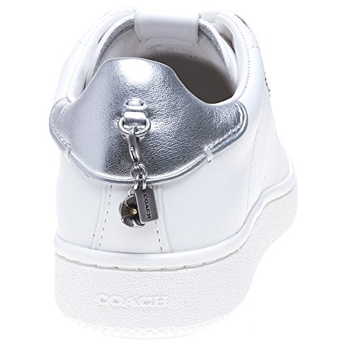 with Tea Eyelets Blanc Coach C101 Baskets Rose Femme Mode 1S5yfywqa