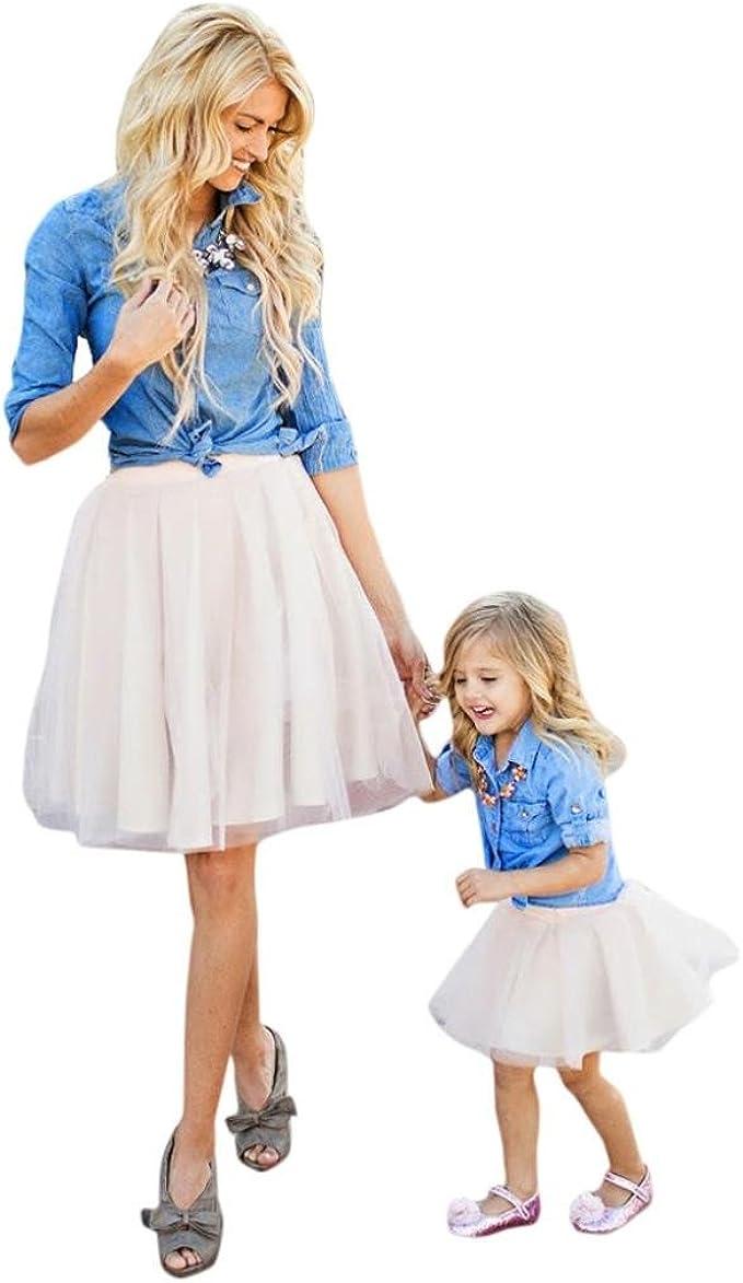 OVERDOSE Abstammungs Kleidung Mutter Tochter Laterne Hülsen Feste Farbe  Blumen Kleid Familie Kleidung Frauen Kleid Mädchen Kleid (S-XXXL) / (13-13  Jahre