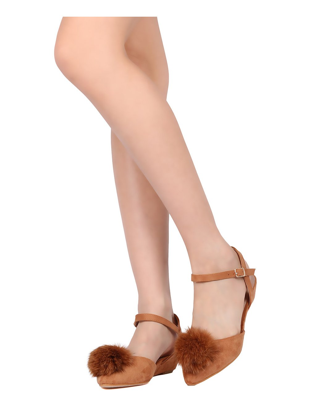 DbDk Women Mixed Media Pom Pom Dorsay Low Wedge Sandal GD39 B01N6YG0DC 8.5 M US|Camel