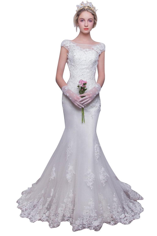 Vimans? Lady's 2016 Long Scoop Neck Mermaid Style Lace Wedding Bridal Dress