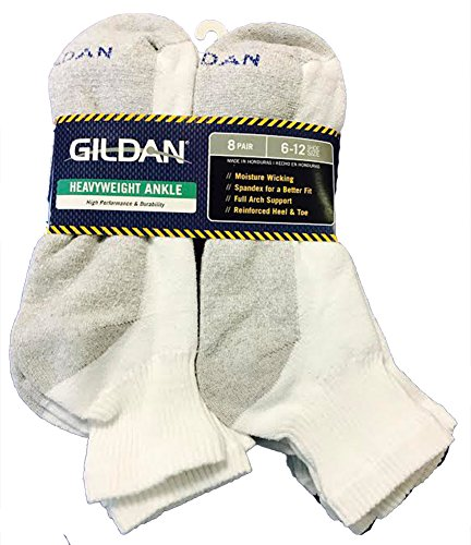 Gildan Heavyweight Ankle 8 Pair Pack Sock;6-12 shoe size;White with Grey Heel from Gildan