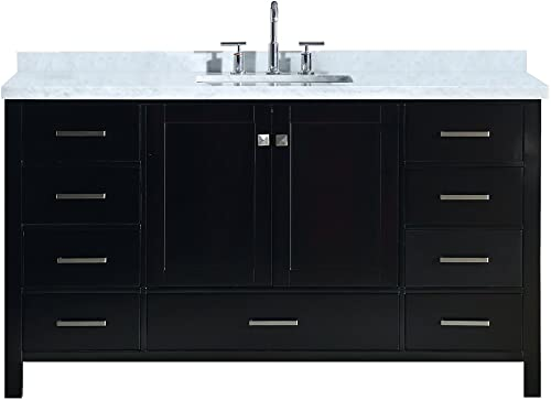 ARIEL Cambridge A061SCWRVOESP 61″ Inch Single Rectangular Sink Solid Wood Espresso Bathroom Vanity Cabinet