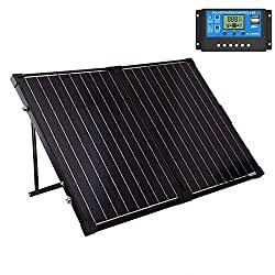 SUNGOLDPOWER 130 Watt 12V Off Grid Monocrystalline Portable Foldable Solar Panel Suitcase with 10A Waterproof Charge Controller